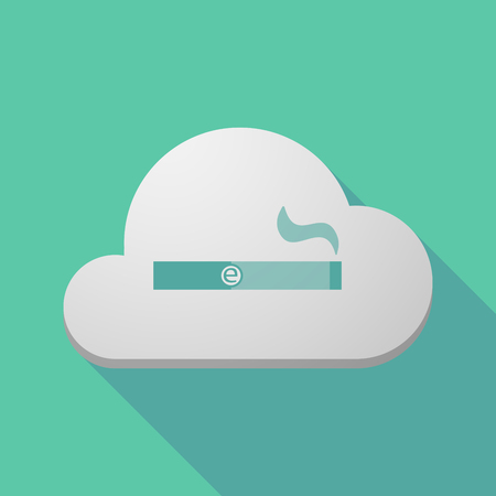 e cigarette: Illustration of a long shadow cloud icon with an electronic cigarette
