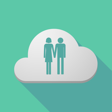 heterosexual: Illustration of a long shadow cloud icon with a heterosexual couple pictogram Illustration