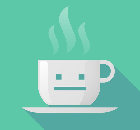 emotionless: Illustration of a long shadow cup of coffee with  a emotionless text face