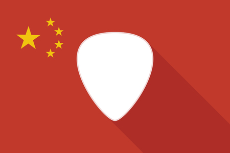 plectrum: Illustration of a China long shadow flag with a plectrum Illustration