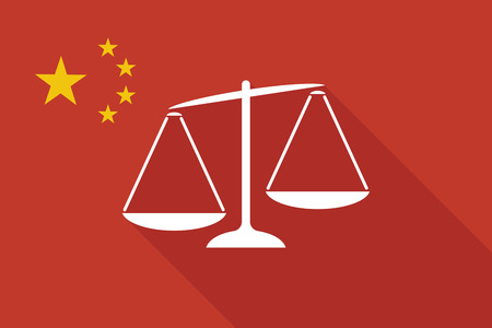 tribunal: Illustration of a China long shadow flag with  an unbalanced weight scale