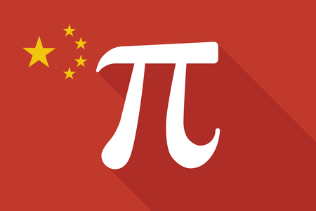 constant: Illustration of a China long shadow flag with the number pi symbol