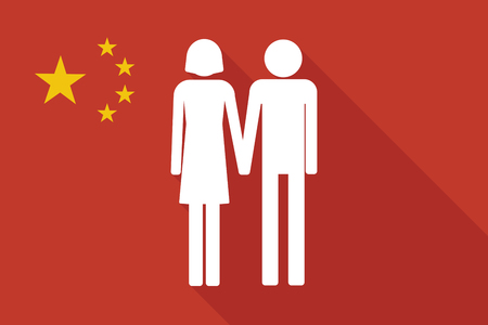 heterosexual: Illustration of a China long shadow flag with a heterosexual couple pictogram