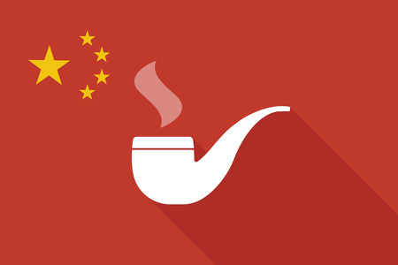 pipe smoking: Illustration of a China long shadow flag with a smoking pipe