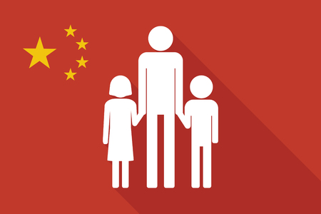 single parent: Illustration of a China long shadow flag with a male single parent family pictogram Illustration