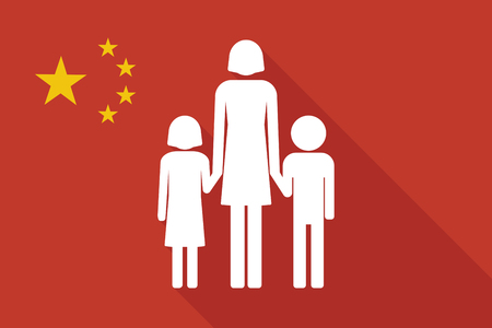 single parent: Illustration of a China long shadow flag with a female single parent family pictogram Illustration