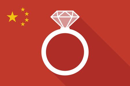 Ilustración de una bandera larga sombra de China con un anillo de compromiso