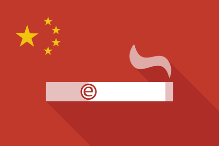 background e cigarette: Illustration of a China long shadow flag with an electronic cigarette