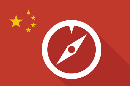 longitude: Illustration of a China long shadow flag with a compass Illustration