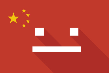 emotionless: Illustration of a China long shadow flag with a emotionless text face
