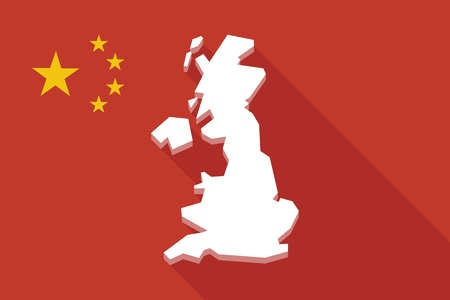 uk map: Illustration of a China long shadow flag with  a map of the UK