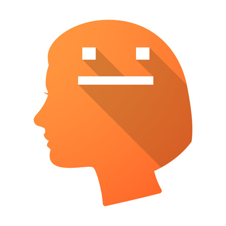 emotionless: Illustration of a long shadow female head with a emotionless text face