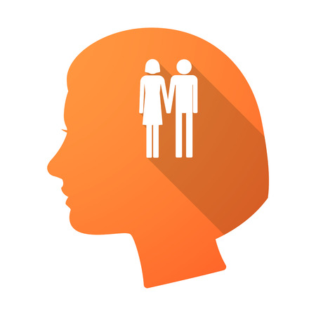 heterosexual couple: Illustration of a long shadow female head with a heterosexual couple pictogram