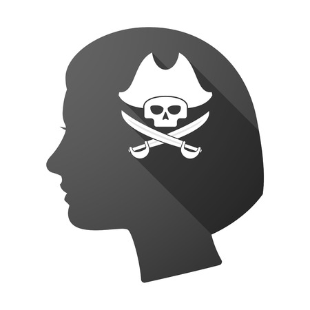 sabre: Illustration of a long shadow female head with a pirate skull