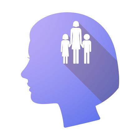 single parent family: Illustration of a long shadow female head with a female single parent family pictogram Illustration