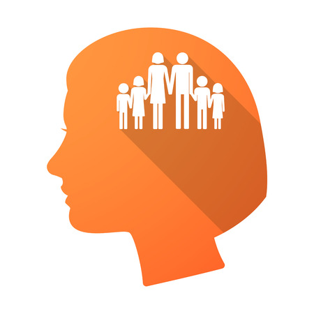 large family: Illustration of a long shadow female head with a large family  pictogram Illustration