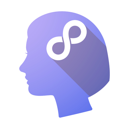 mobius loop: Illustration of a long shadow female head with an infinite sign Illustration