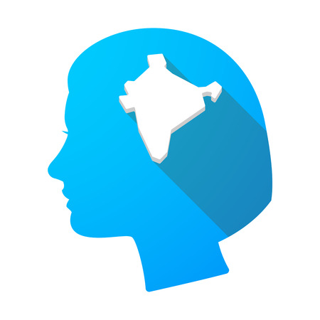 Illustration of a long shadow female head with  a map of India Illustration