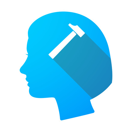 hammer head: Illustration of a long shadow female head with a hammer Illustration