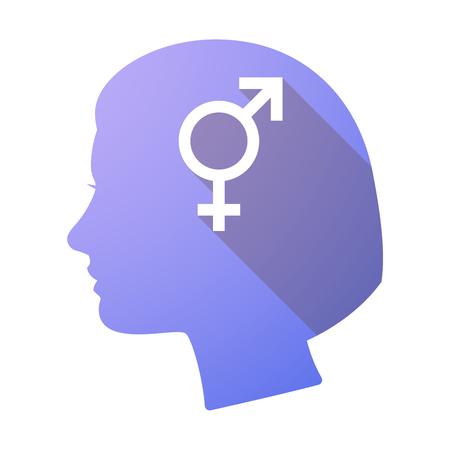 sex discrimination: Illustration of a long shadow female head with a bigender symbol