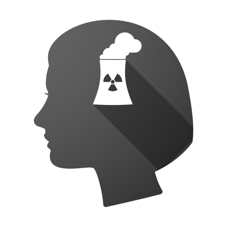 nuclear power station: Illustration of a long shadow female head with a nuclear power station