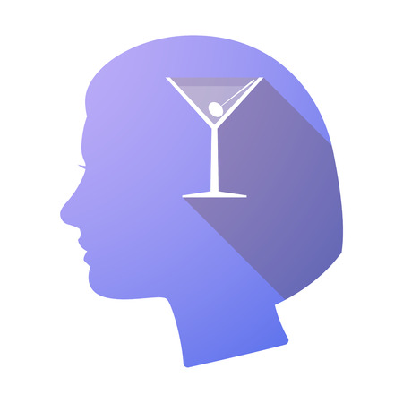 vermouth: Illustration of a long shadow female head with a cocktail glass