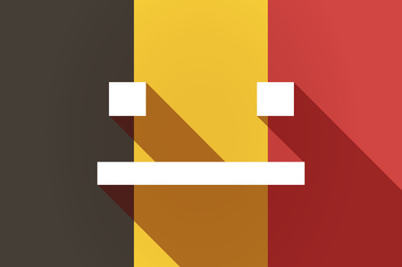 emotionless: Illustration of a long shadow Belgium flag with a emotionless text face