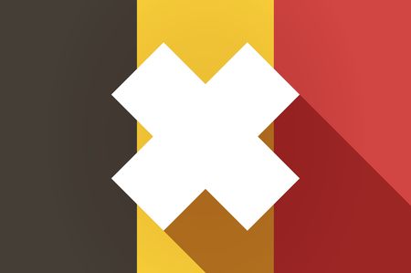 corrosive poison: Illustration of a long shadow Belgium flag with an irritating substance sign