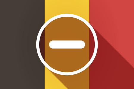 subtract: Illustration of a long shadow Belgium flag with a subtraction sign