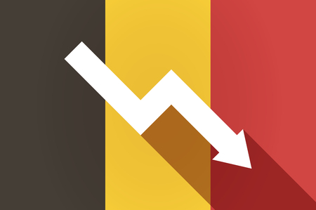 descending: Illustration of a long shadow Belgium flag with a descending graph