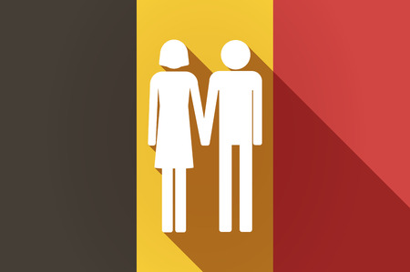 heterosexual couple: Illustration of a long shadow Belgium flag with a heterosexual couple pictogram