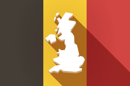 belgium: Illustration of a long shadow Belgium flag with  a map of the UK