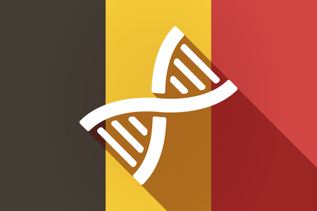 transgenic: Illustration of a long shadow Belgium flag with a DNA sign