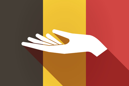 give and take: Illustration of a long shadow Belgium flag with a hand offering