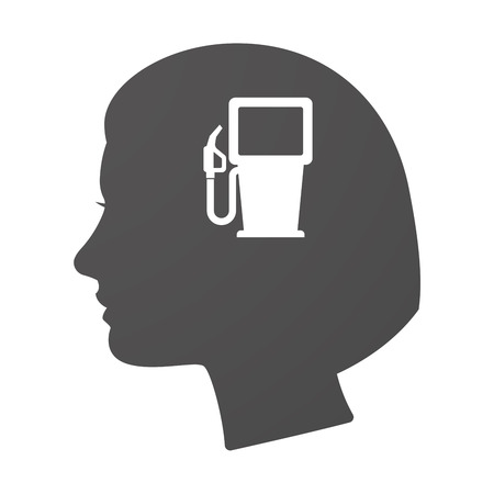 cabeza de mujer: Illustration of an isoalted female head icon with a gas station Vectores