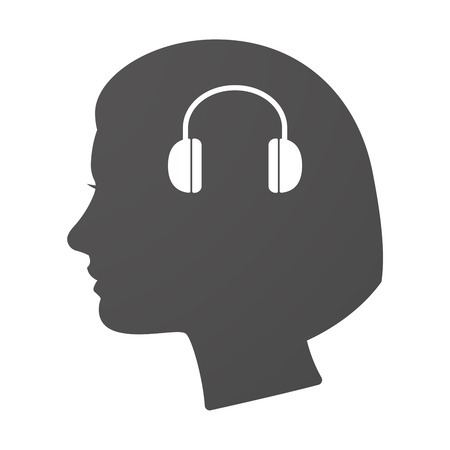 face with headset: Illustration of an isoalted female head icon with a earphones Illustration