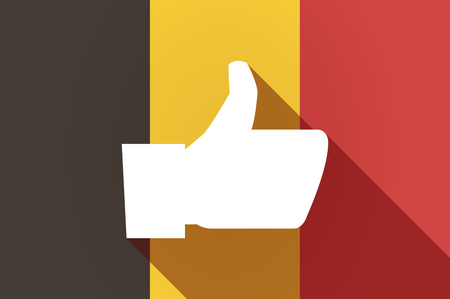 belgium: Illustration of a long shadow Belgium flag with a thumb up hand