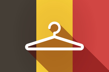 country store: Illustration of a long shadow Belgium flag with a hanger Illustration