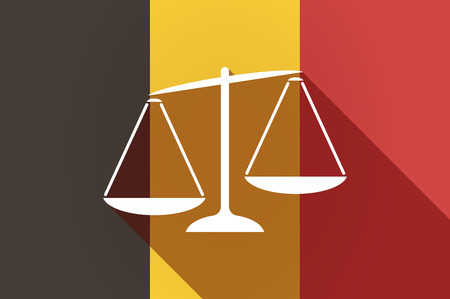unbalanced: Illustration of a long shadow Belgium flag with  an unbalanced weight scale