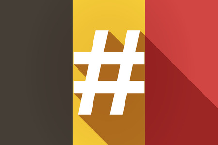hash: Illustration of a long shadow Belgium flag with a hash tag Illustration