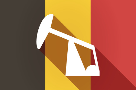 horsehead pump: Illustration of a long shadow Belgium flag with a horsehead pump