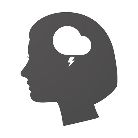 stormy: Illustration of an isoalted female head icon with a stormy cloud Illustration