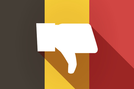 Illustration of a long shadow Belgium flag with a thumb down hand Illustration