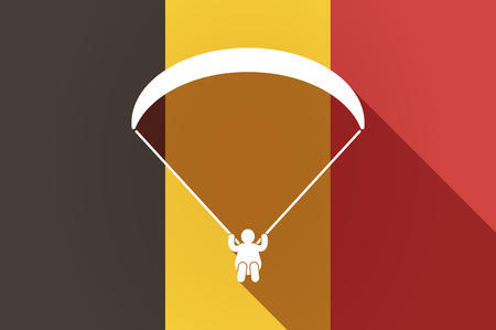 paragliding: Illustration of a long shadow Belgium flag with a paraglider