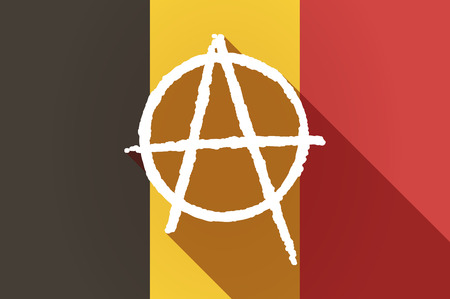 anarchist: Illustration of a long shadow Belgium flag with an anarchy sign