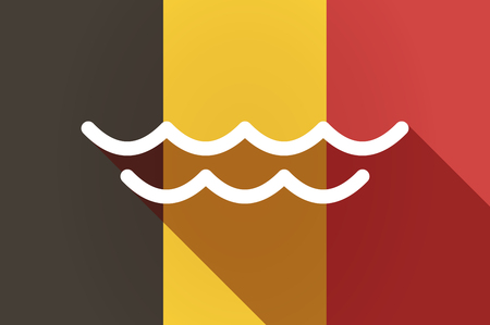 liquid state: Illustration of a long shadow Belgium flag with a water sign