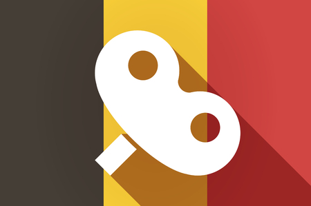 crank: Illustration of a long shadow Belgium flag with a toy crank Illustration