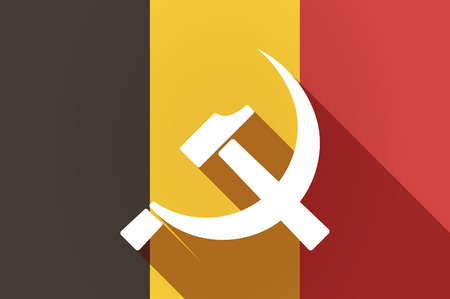 communist: Illustration of a long shadow Belgium flag with  the communist symbol