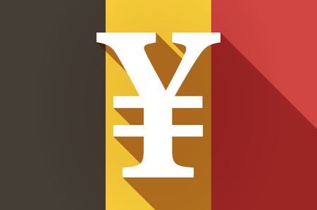 yen sign: Illustration of a long shadow Belgium flag with a yen sign