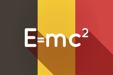 relativity: Illustration of a long shadow Belgium flag with the Theory of Relativity formula